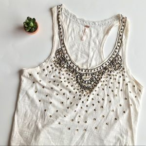 Free People Beaded Racerback Tank Top